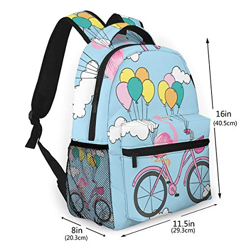 Flamingo on a Bicycle Travel Laptop Backpack,Water Resistant College School Computer Bag Gifts for Men & Women