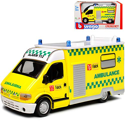 Renault Master II Ambulance Krankenwagen Gelb 2. Generation 1997-2010 1/50 Bburago Modell Auto