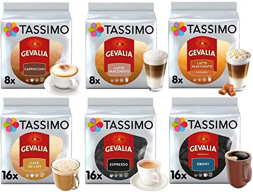 Tassimo Kaffee Gevalia Kaffeekollektion - Gevalia Latte Macchiato Caramel / Latte Macchiato / Cappuccino / Ebony / Espresso / Café Au Lait Kaffeekapseln - 6 Packungen (72 Getränke)