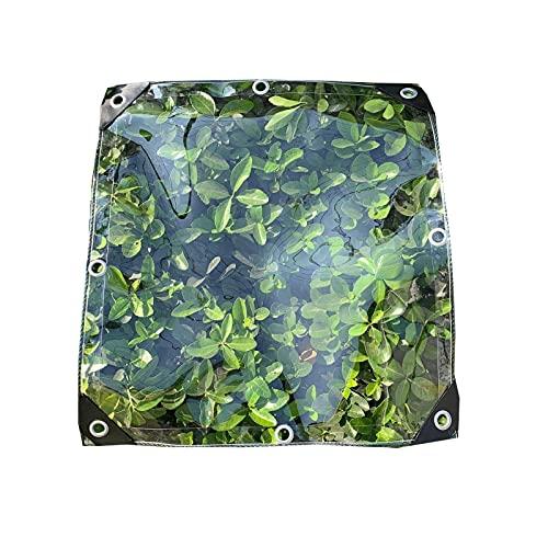 LJIANW-lonas impermeables exterior, Lona Alquitranada Transparente Impermeable Plástico PVC con Ojales Fácil De Instalar, Flor-Planta Hoja Cubierta Impermeable, 400 G/M