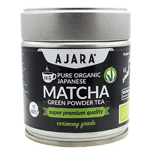 Matcha-Tee-Pulver-Bio Ceremonial Grade [SUPERIOR QUALITÄT] Japanischer Grüntee-Pulver Matcha Zeremonie-Qualität | Energetisch | Händisch geerntet, Stein zermahlt in Uji (Kyoto) in Japan | 40g Dose