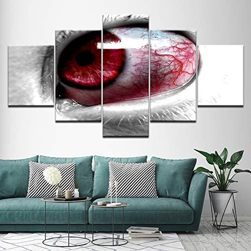 Pintura en lienzo Ojos rojos inyectados en sangre 5 Piezas Arte de la pared Pintura Fondos de pantalla modulares Impresión de carteles para sala de estar Interior-frame Impresiones sobre lienzo