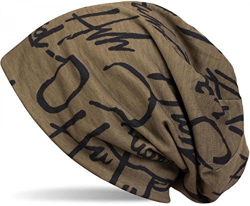 styleBREAKER Beanie Mütze mit All Over Zeichen Print Muster, Slouch Longbeanie, Unisex 04024075, Farbe:Oliv
