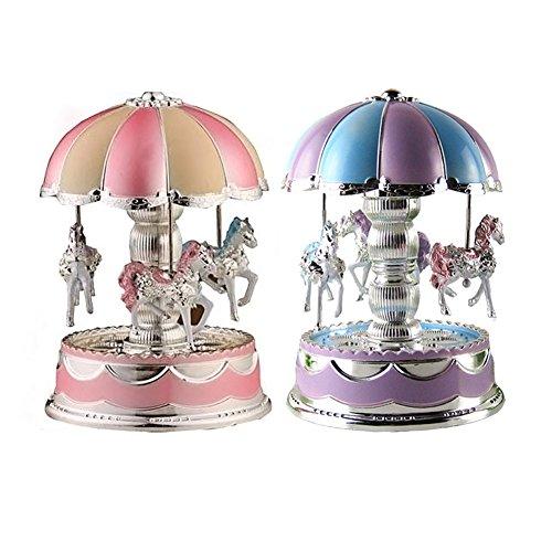 Coospy LED-licht Karussell Spieluhr, Karussell Pferd Spieluhr Geburtstagsgeschenk Spielzeug Für Baby, Mädchen, Kinder, Tochter, Freunde (zufällige Farbe)