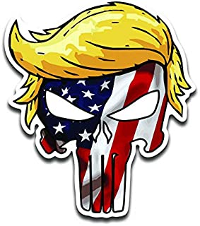 JMM Industries Trumpisher American Flag Vinyl Decal Sticker Car Window Bumper 2-Pack 4-Inches 4-Inches Premium Quality UV-Protective Laminate PDS2047