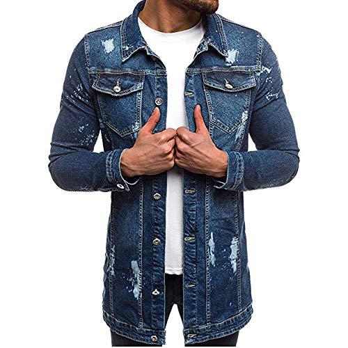 Herren Jeansjacke Lange Biker Style Herbst Jeans Jacket Denim Jacke Frühlings- Übergangsjacke Jeans Destroyed Vintage Used-Look mit Patches Herren Mode Mantel Jeansjacke Talliert Denim Jacket XL