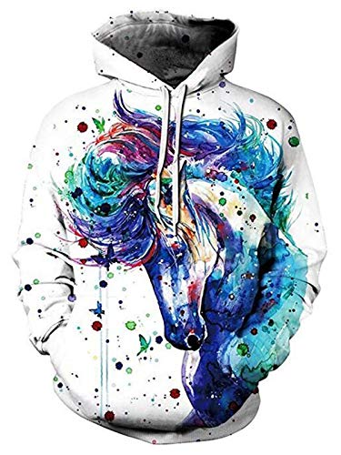 ALISISTER Unisex 3D Druck Hoodie Kapuzenpullover Coole Buntes Einhorn Grafik Hooded Sweatshirt Herbst Winter Outdoor Pullover Hoodies mit Fleece-Innenseite für Herren Damen M