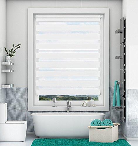 Magiea Doppelrollo Duo Rollo Klemmfix ohne Bohren Weiß 90x150cm Klemmrollo Sonnenschutzrollo mit Klämmträgern für Fenster und Türen