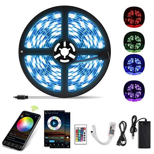 Yissvic Striscia LED RGB 5m Wi-Fi Luci Musicali a LED Strip 5050 12V Autoadesiva LED Strisce, Supporta Alexa/Google Assistant, IP65 Impermeabile/Flessibile/Accorciabile/Divisibile, Telecomando APP