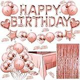 Globos Cumpleaños Decoracione, Feliz Cumpleaños Decoración Fiesta Cumpleaños Oro Rosa Globo para Hombres y Mujeres Adultos Decoración de Fiesta Manteles,Confetti,Globos de Látex Impresos