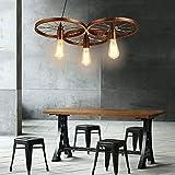 Lámpara de techo retro negro/vintage, E27, rústica, para comedor, salón, cocina, restaurante, casquillo E27