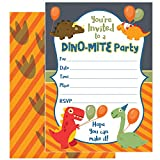 ZOLCO Prints 25 Dinosaur Birthday Invitations with Envelopes - These Kids Party Invitation Cards (5x7 inch) are a Great Way to Tell Everyone About Your Boys or Girls Dino Theme Party