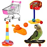 GFNet 4 PCS Bird Training Toys, Parrot Intelligence Toy, Mini Shopping Cart Skateboard Basketball Stacking Rings Bird Toy for Parrots