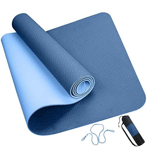 ROMIX Yoga Mat, Tappetino Yoga Fitness in TPE Bifacciale Spesso 6MM con Borsa e Tracolla, Tappetino Esercizi Antiscivolo Ecologico per Uomo Donna Home Gym Pilates Meditation Stretching (Blu)