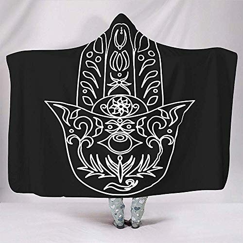 Schwarz und Hamsa Hand Floral Geometrie Hand von Fatima Totem Casual Fleece Kostüme Frauen Männer Schlafzimmer