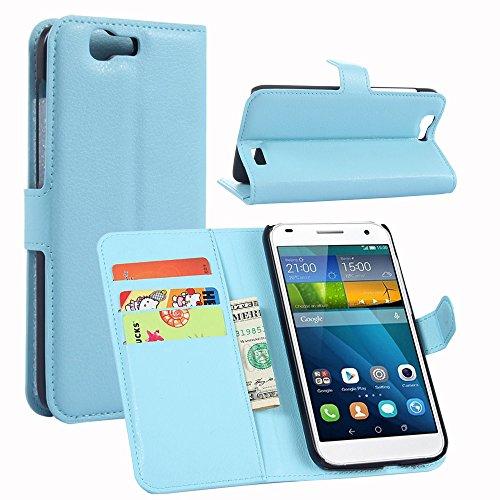 Tasche für Huawei Ascend G7 (5.5zoll) Hülle, Ycloud PU Ledertasche Flip Cover Wallet Hülle Handyhülle mit Stand Function Credit Card Slots Bookstyle Purse Design blau