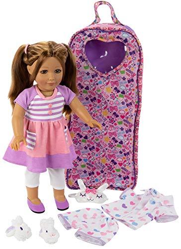"""Playtime by Eimmie 18"""" Doll for Girls - 18 Inch Doll with Pajamas and Carrying Case - Doll Clothes and Accessories - Allie"""