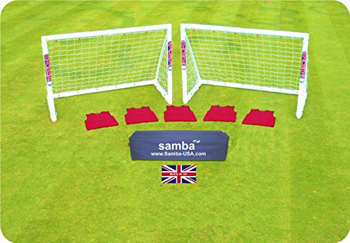 Samba Soccer Goal- Training Grade- 6x4 Two Goal Set- Backyard All Weather Goal for Kids and Adults. 1 Year Warranty. Made in The UK!