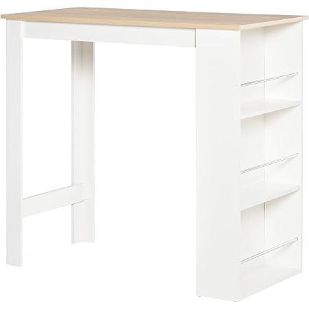 Table de bar table haute de cuisine avec rangement étagère de 112L x 57l x 106H cm blanc