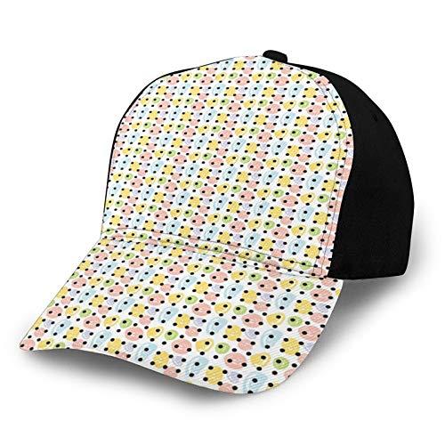FULIYA Gorra de béisbol lisa lavada, coloridas rondas de garabatos y lunares de color oscuro modernista, linda impresión retro ajustable, regalo para hombres y mujeres