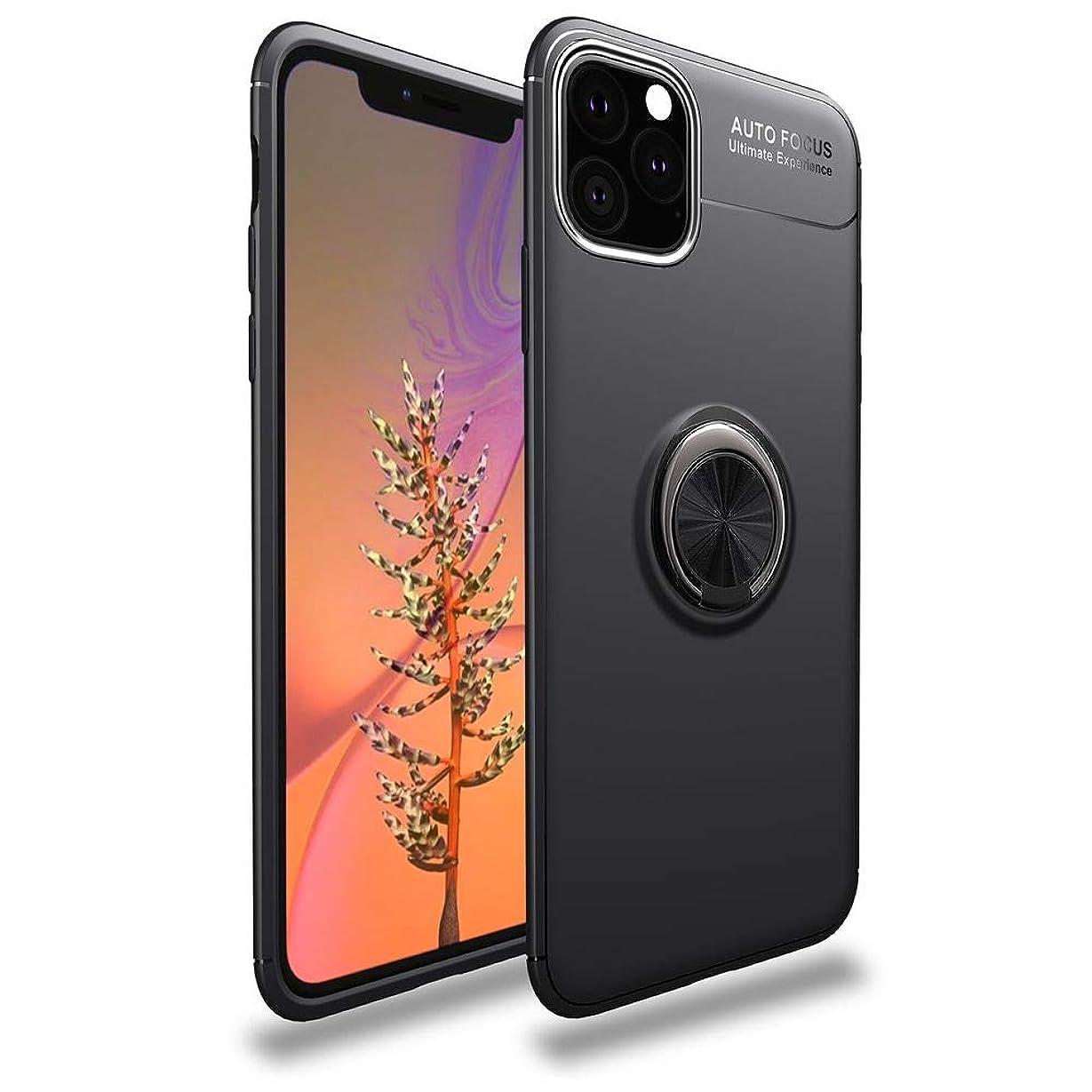 外部大使館マントiPhone 11 ケース リング付き 360度回転 落下防止 耐衝撃 Dingxin TPU カバー スタンド機能 薄型 軽量 指紋防止 車載ホルダー対応 アイフォン11ケース (iPhone 11, ブラック)