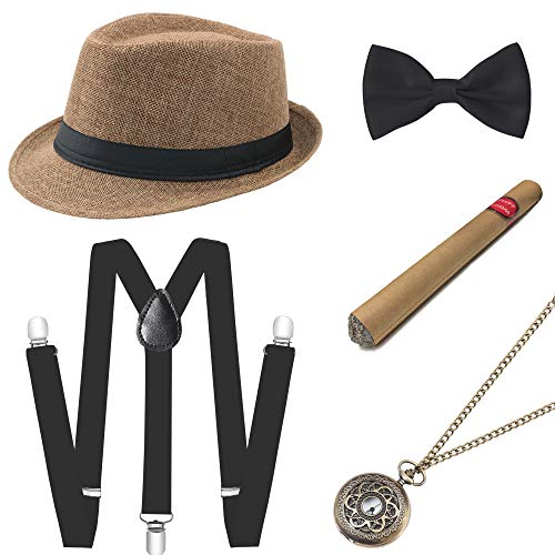 Coucoland 1920s Herren Accessoires Mafia Gatsby Kostüm Set inklusive Panama Gangster Hut Verstellbar Elastisch Hosenträger Herren Halsschleife Fliege Taschenuhr und Plastik Zigarre (Kamel)