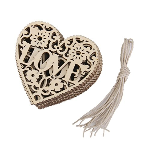 AKORD Love Heart Embellishments Crafts Christmas Tree Hanging Ornament, Wood Brown, 8 x 8 x 0.01 cm