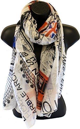 Londres Royaume-Uni mode rues Union Jack Grand Maxi écharpe blanc