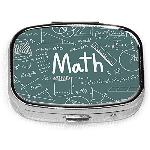 Teoría matemática Ecuación de fórmula matemática Organizador de píldoras portátil, Caja de píldoras de viaje Caja de píldoras diarias Organizador de vitaminas para medicamentos