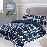 Juego de Funda de edredón y Fundas de Almohada de Franela cepillada, 100% algodón, diseño de Cuadros Escoceses, Color Azul Marino