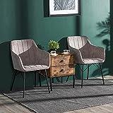 Juego de 2 sillas de comedor con reposabrazos y patas de metal, color gris