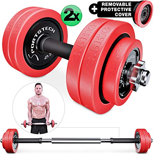 Sportstech 2in1 innovative Dumbbell & Barbell Set with Silicone Cover, Weights Adjustable Dumbbells in 20kg / 30kg of Cast Iron and with Connecting Rod - Strength Training, Home Gym Exercise - AH300