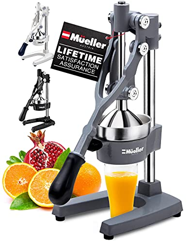 Mueller Professional Citrus Juicer - Manual Citrus Press and Orange Squeezer - Metal Lemon Squeezer - Premium Quality Heavy Duty Manual Orange Juicer and Lime Squeezer Press Stand, Gray