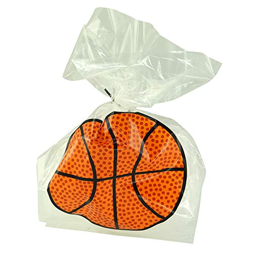 Pack of 24 Plastic Printed Goody Bags with Twist Ties, Food Safe - Basketball