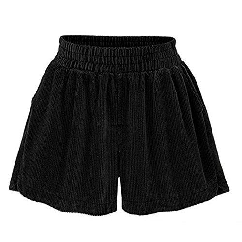 Vdual Femmes Velours côtelé Loose High Loose Bottes Shorts Hot Pantalons