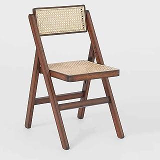 Silla plegable nogal con asiento de paja de Vienna Lux