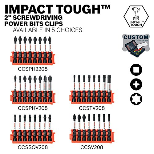 Bosch CCSPHV208 8Piece Impact Tough Phillips 2 In. Power Bits with Clip for Custom Case System