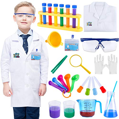 INNOCHEER Kids Science Experiment Kit with Lab Coat Scientist Costume Dress Up and Role Play Toys Gift for Boys Girls Kids Age 6+ Christmas Birthday Party