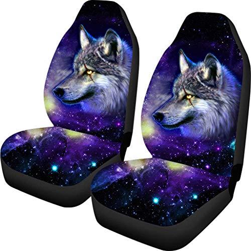Coloranimal 3D Galaxy Wolf Pattern 2er-Set Front-Autositzbezug Volles Zubehör für Auto Fit Mehr Autos Truck SUV Van Fashion Automoive 100% atmungsaktiv