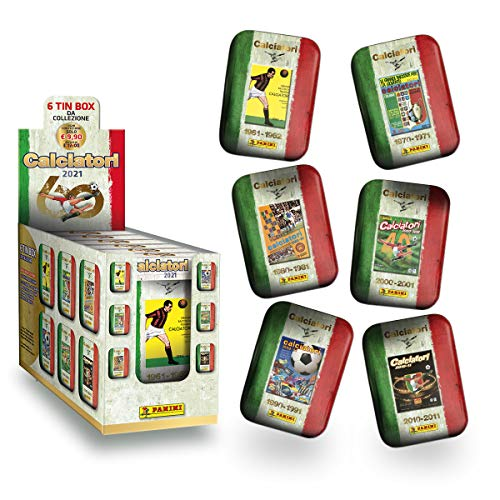 Figurine Panini Calciatori 2021 - Display da 6 Tin Box [6 Tin Box da collezione + 90 bustine]