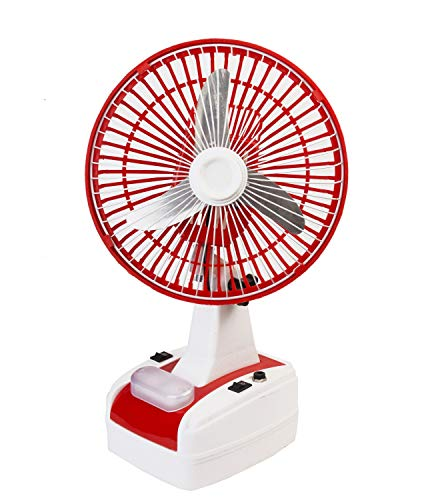 Globex 8-Inch Rechargeable Table Fan with LED Lamp (Red)
