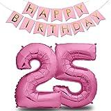 envami Globos de Cumpleãnos 25 Rosas I 101 CM Globo 25 Años + Happy Birthday Guirnalda I Globo Numero 25 I Decoracion 25 Cumpleaños Mujer I Globos Numeros Gigantes para Fiestas I Vuelan con Helio
