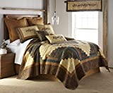 Full / Queen Bedding Set - 3 Piece - Cabin Raising Pine Cone by Donna Sharp - Lodge Quilt Set with Full/Queen Quilt and Two Standard Pillow Shams - Fits Queen Size and Full Size - Machine Washable