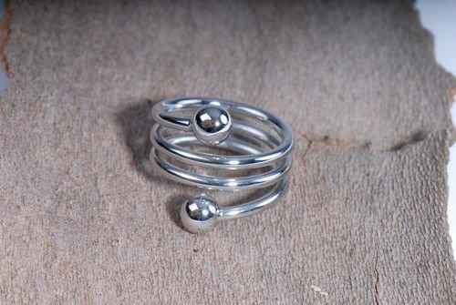 Spiral- Ring, versilbert - Esoterik günstig kaufen online Magnetschmuck