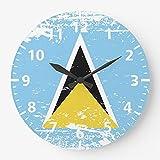 DKISEE Vintage Retro Saint Lucia Flagge Wanduhr, geräuschlos, nicht tickend, Holz, dekorative r&e Wanduhr für Zuhause, Büro, Schule, Dekoration, 25,4 cm, el100
