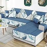 YUTJK Funda Chaise Longue Lavable Protector para Sofás,Toalla De Sofá Cuatro Estaciones,Antideslizante Funda De Sofá,Cubierta de sofá de algodón Estilo Chino-Azul 2_90×240cm