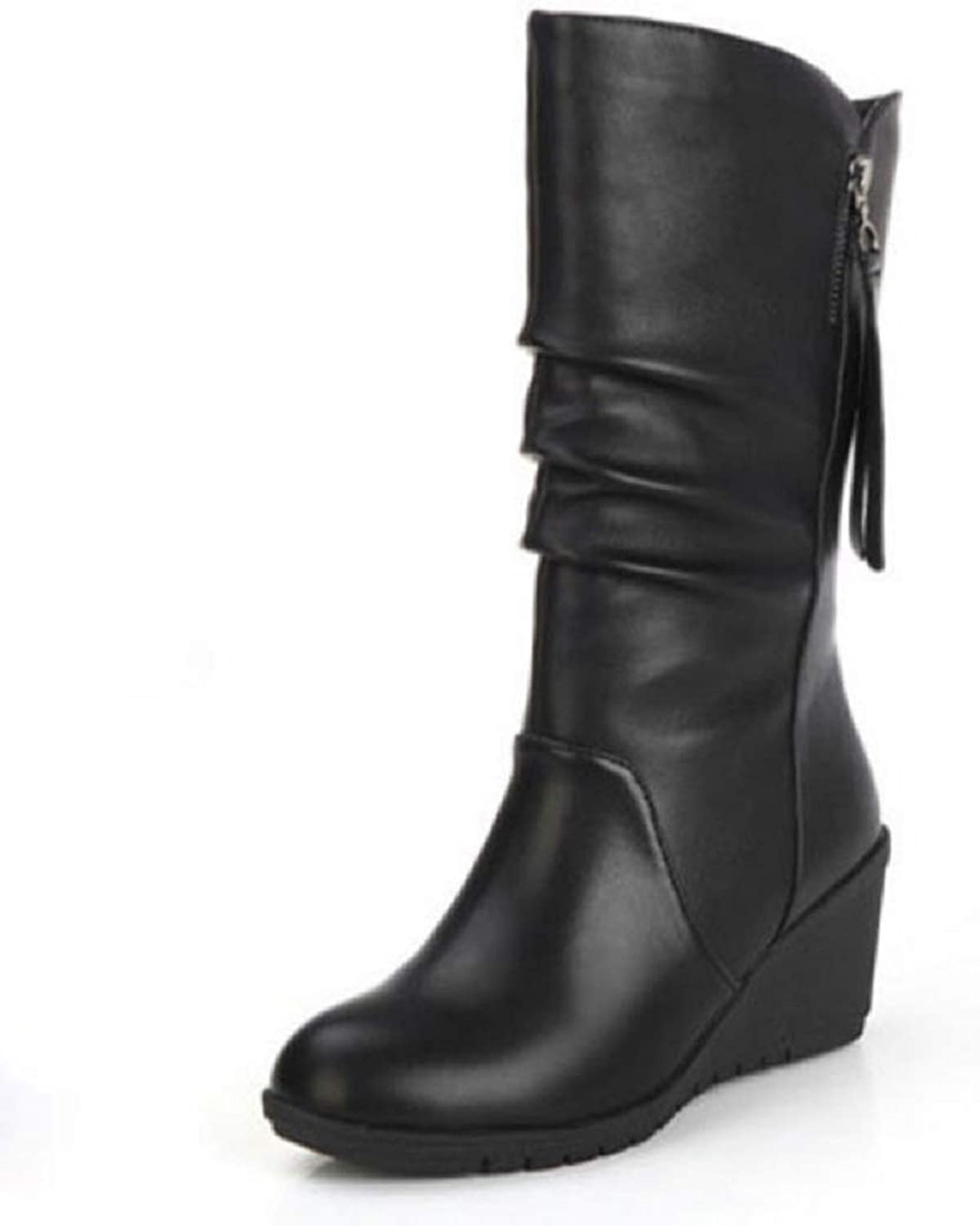 Ladies Women Biker Calf Boots Wedge Boots Trainer Casual Boots Winter Grip Sole Comfortable Warm Ruched Knee Boots Size