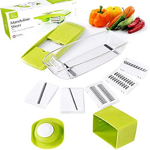 K BASIX Mandoline Slicer Spiralizer, Adjustable Vegetable Cutter, Food Slicer, 5 in 1 Built-in Ultra Sharp Interchangeable Stainless Steel Blades Potato Slicer, Vegetable Julienne, Food Storage