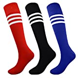 Fitliva Tube Dress Multi Color Assorted Multicolor Socks for Boys Girls Birthday Sports Gift with Stripe(3pairs-Black Blue Red)