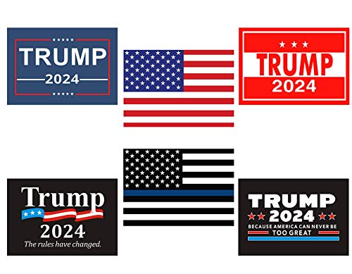 Yeapop Patriotic Reflective Stickers,6 PCS Trump 2024 and USA Flag Decals, Compatible with Laptops,Travel Cases, Cars and Boats. Thin Blue Line American Flag Decal Stickers for Any Patriots